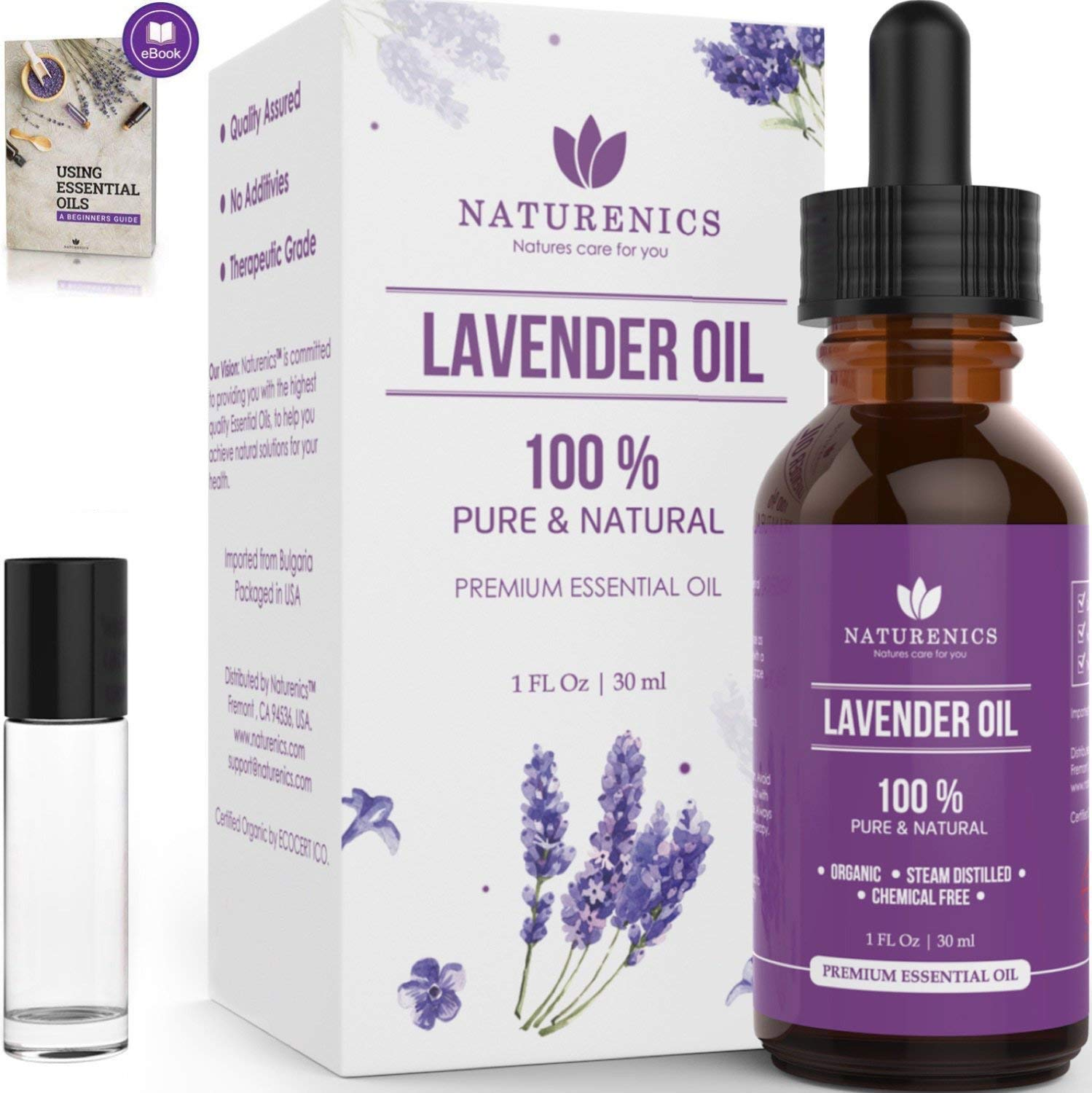 Naturenics Premium Lavender Essential Oil - 100% Undiluted Pure Lavender Oil Therapeutic Grade- Promote Peaceful Sleep, Relaxation, Tension Relief- For Diffuser & Topical Use- Roll On Bottle & eBook