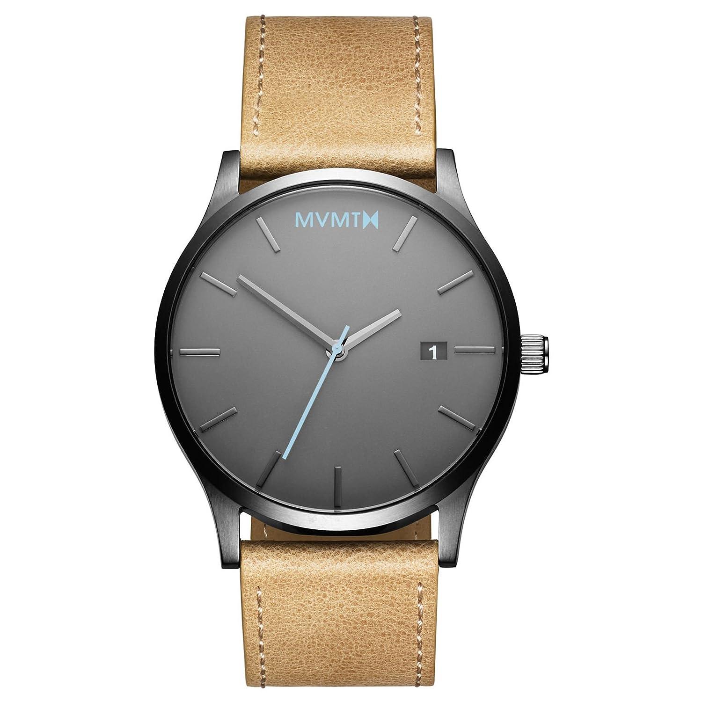 MVMT Watches Classic Herren Uhr Gunmetal-Sandstone Leder Armband MM01GML