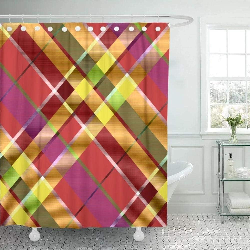 N / A Cortina de baño de Gran Bretaña a Cuadros Verde a Cuadros de Color Diagonal Rojo Abstracto poliéster Impermeable W180xH180cm