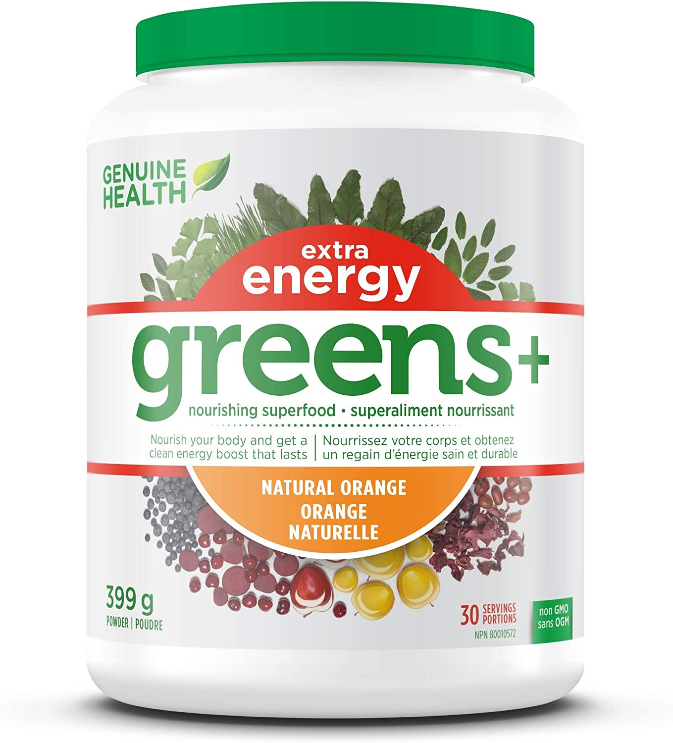 Genuine Health Greens Extra Energy, Green Superfood Powder, Non GMO, Natural Orange, 399g, 30 Servings