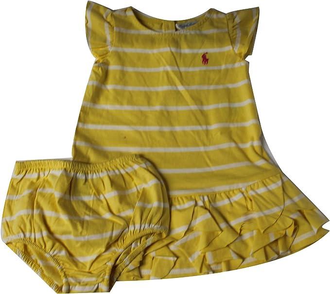 Polo_Ralph Lauren PM100 - Vestido Polo a Rayas Amarillas para niña ...