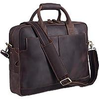 Polare Men's Full Grain Leather 16'' Laptop Case Bag Briefcase (Dark Brown)