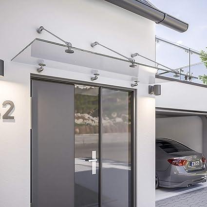 schulte auvent davita 200 x 90 cm marquise de porte d entree en verre de securite transparent fixation en inox