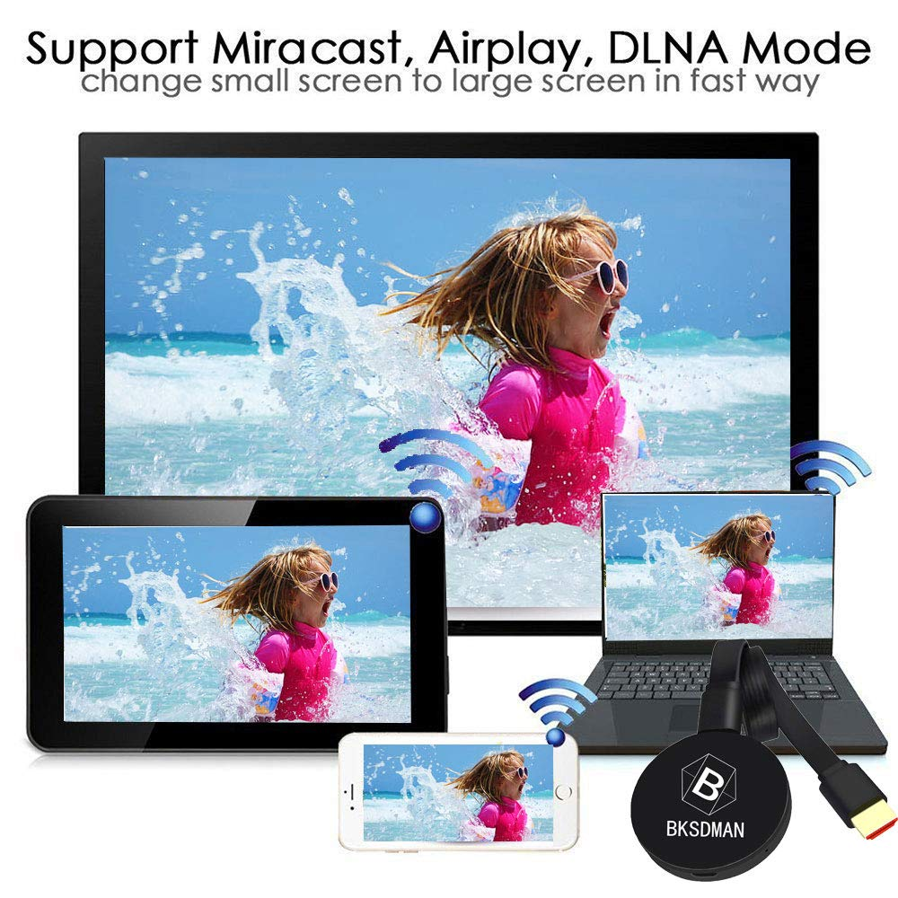 BSKDMAN WiFi Anzeige Dongle Wireless 2.4G 1080P Mini Display Receiver HDMI TV Miracast TV Stick DLNA Airplay f/ür IOS//Android//Windows//Mac Schwarz