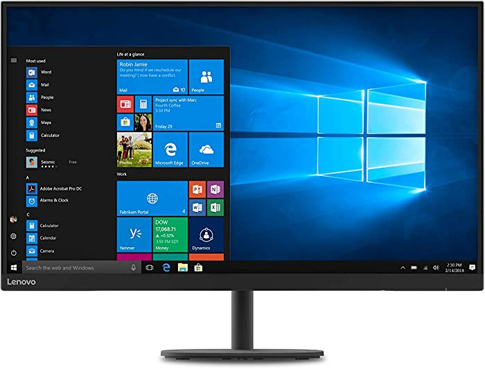 Lenovo C32qc-20 31.5-Inch QHD Curved Monitor, IPS, FreeSync, 2560 x 1440p, 75Hz, 1.07 Billion Color Support, Anti-Glare, Tilt, VESA, 66A5GCC1US, Black