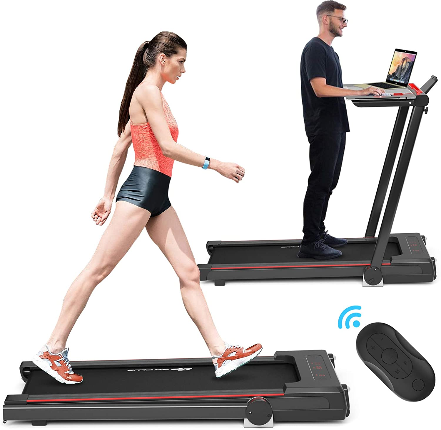 Goplus 3-in-1 Treadmill with Large Desk, 2.25HP Folding Electric Treadmills, LCD Display, Remote Control, Bluetooth Speakers, Walking Jogging Machine for Home/Office Use