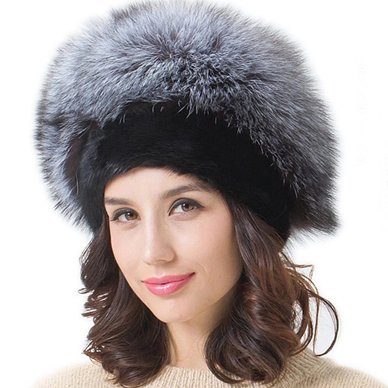 FURTALK Damen Winter aus Hoche Qualität Weich Warm Silbrige Fuchspelz Material Pelzmütze Wintermütze Strickmütze