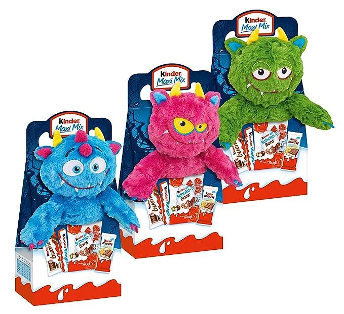 Kinder Halloween monstruo de peluche 23cm juego completo de 3 con Kinder Maxi, Bueno etcétera