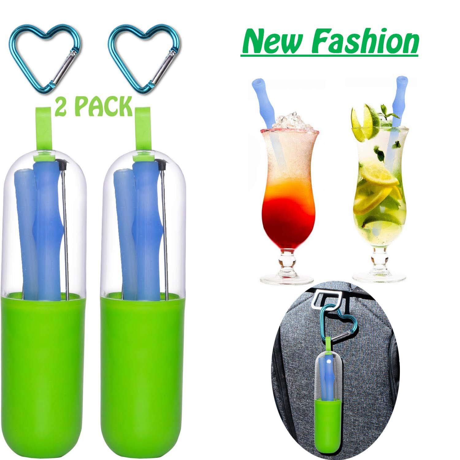 Silicone Drinking Straws Joyhill Reusable Portable Collapsible Straws with 4 Cases /& 4 Cleaning Brushes BPA Free 30/&20 oz Tumbler Compatible Gift for Travel,Office