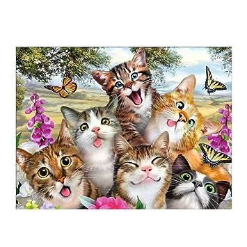 Patrón de gato 5D Diamond bordado pintura DIY pintura punto de cruz decoración del hogar: Amazon.es: Hogar