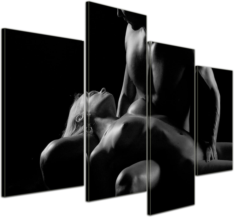Bilderdepot24 Cuadros en Lienzo Pareja erotismo - Negro y Blanco - 120x80 cm 4 Piezas - Enmarcado Listo Bastidor Imagen. Directamente Desde el Fabricante: Amazon.es: Hogar