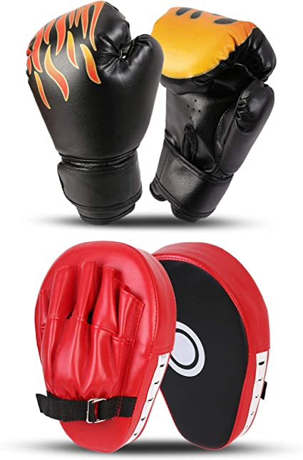 Boxing Pads Hand Gloves MMA Training Mitt Focus Sparring Kick Kit Punch Bags