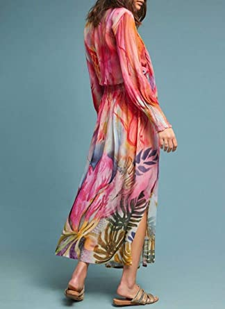 18f96ea28c0 Anthropologie Watercolor Maxi Dress by Bl-nk Sz XSP - NWT at Amazon Women s  Clothing store