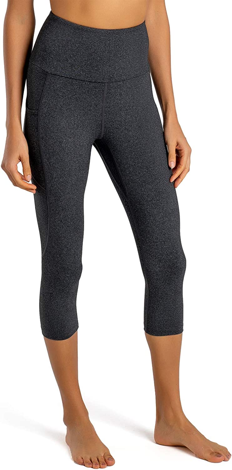 Tummy Control Workout Pants Gym Tights FIRST WAY Cotton Soft High Waist Womens Yoga Leggings Capris with 2 Side Pockets