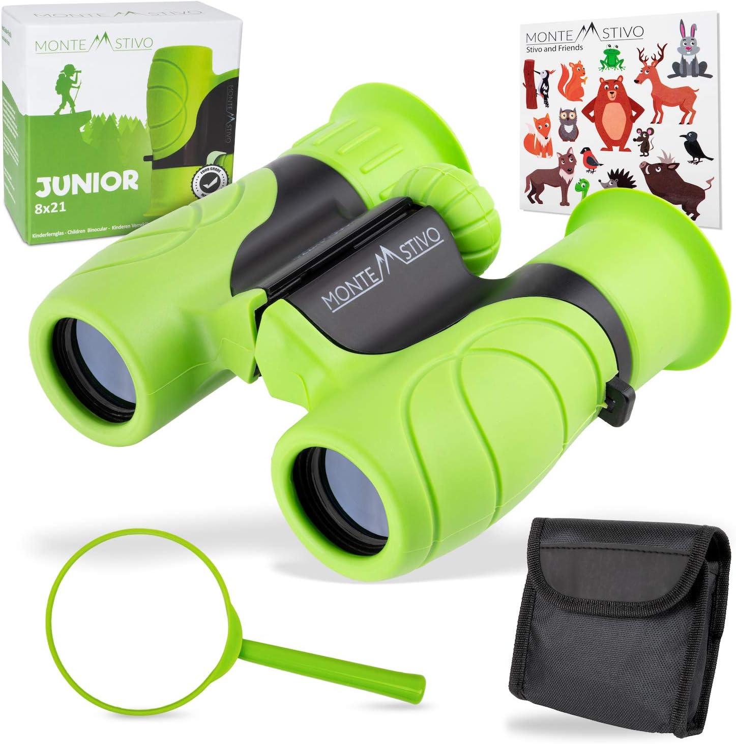 Monte Stivo ® Junior | Binoculares para niños 8x21 | Set como Regalo para pequeños exploradores de 4 a 12 años