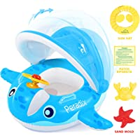 Peradix Baby Swimming Pool Inflatable Floats - Swim Rings with Repair Patch and Adjustable Sunshade - Kids Inflatable Boat Trainer Seat Toys for 6 to 36 Months (25Kg)(Blue-with Repair Patch)