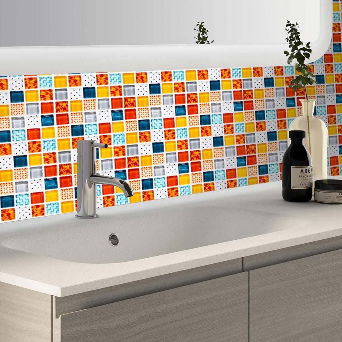 decalmile 10 St/ück Fliesenaufkleber 15x15cm Buntes Mosaik Wandfliese Fliesensticker K/üche Badezimmer Deko