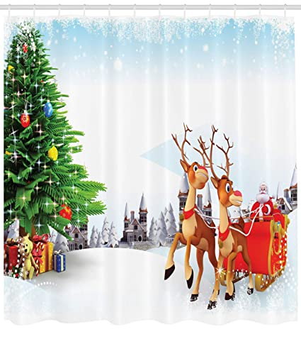Ambesonne Santa Shower Curtain Snow Covered Christmas Village With Cartoon On His Sleigh Big