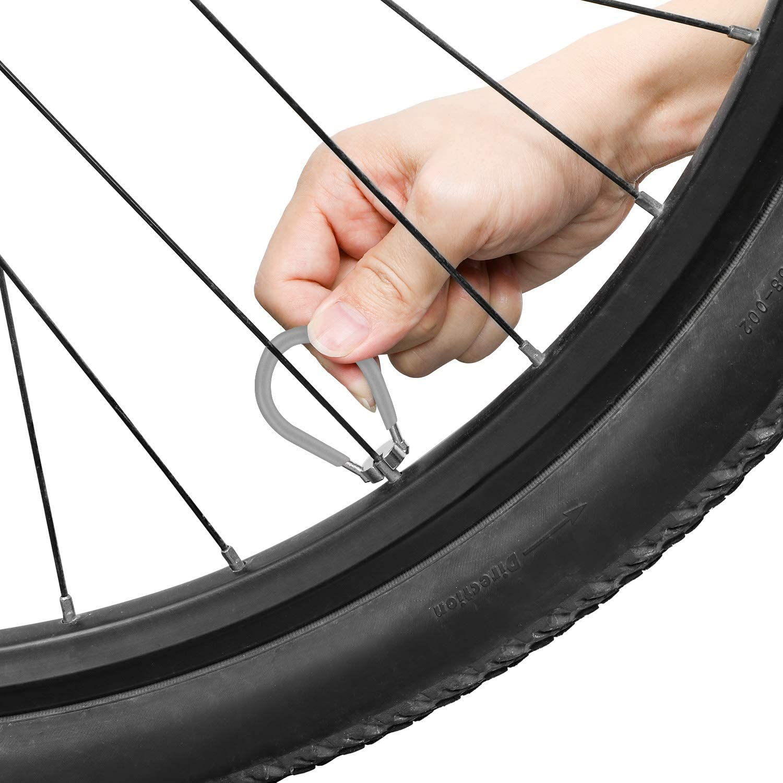 QKURT 3 Pack of Bike Spoke Wrench Kit Forged Steel Bike Rim Correct Tool Bicycle Spoke Tool-Grey