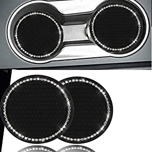 KIWEN Bling Car Cup Coaster 2PCS, Bling Car Accessories 2.75 inch,Rhinestone Anti Slip Insert Coaster, Suitable for Most Car Interior, Car Bling for Women,Party,Birthday,Gift