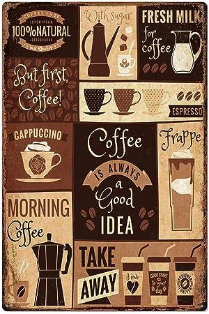 Vintage Tin Signs café frais SERVIS Plaque en métal CAFE Decor Art Mural Poster