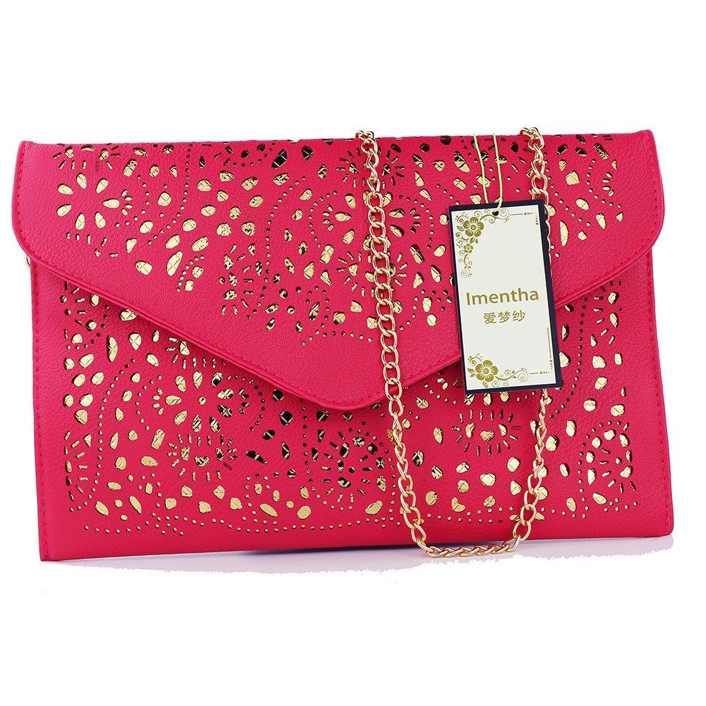 women bag 2017 bolsa feminina women purses and handbags women leather handbags crossbody bags for women crossbody purse bolsos mujer elegante bag small crossbody bags for women clutch bag (rose red) by imentha (Image #2)