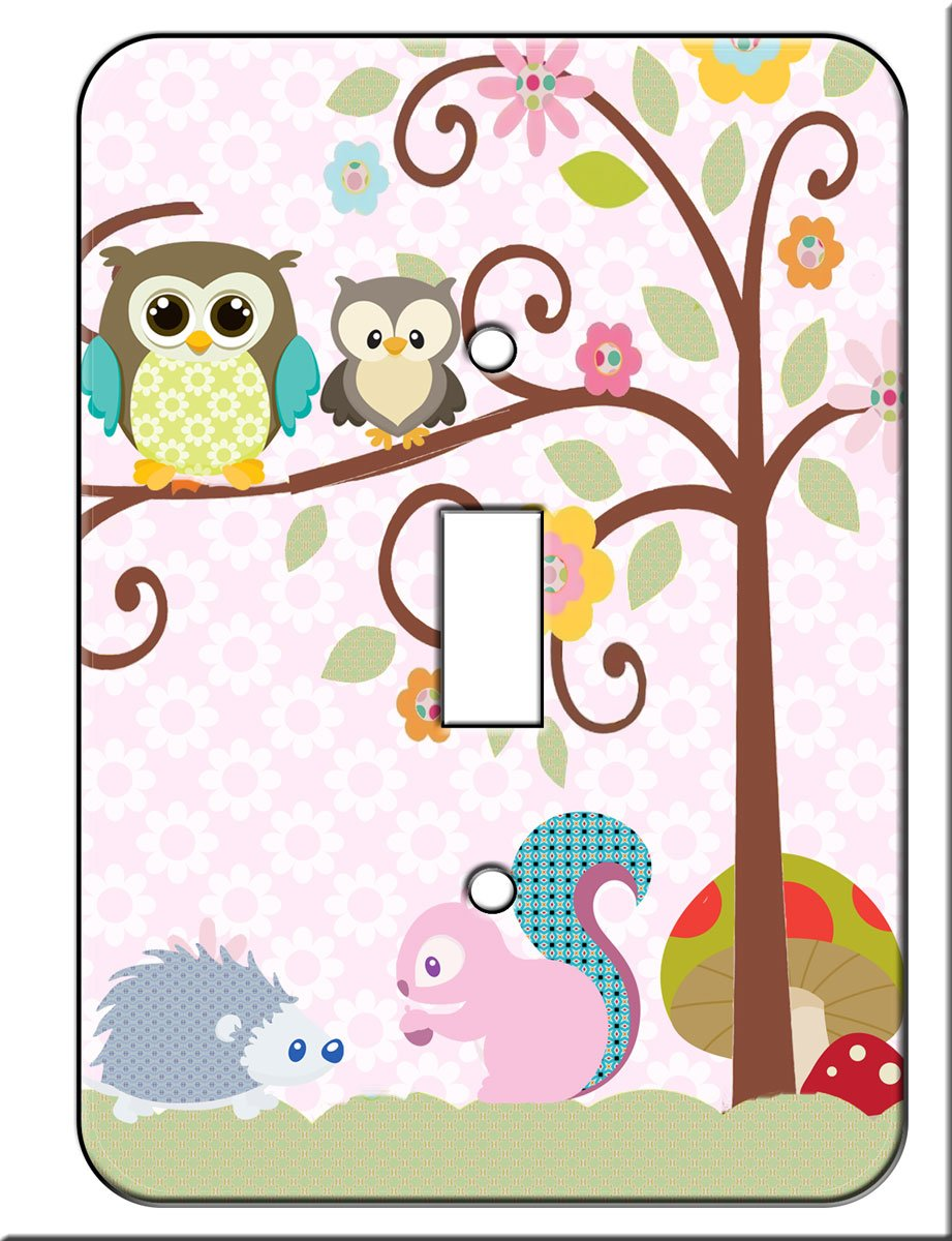 Owl , Squirrel Porcupine Tree Top Friends Single Toggle Switch Wall Plate Cover Switchplate Scroll Tree