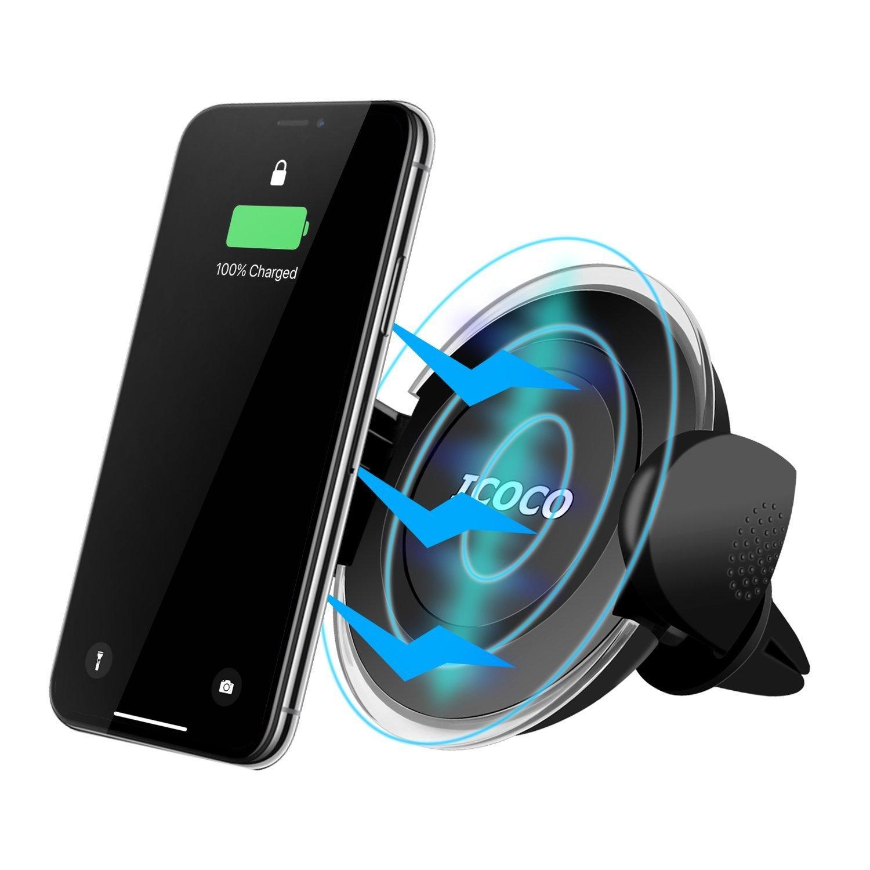 Caricatore Wireless Auto rapido, Caricabatteria Wireless Auto, Universale Supporto Griglia di Ventilazione per Galaxy Note 8/5 S8/S8 Plus S7/S7 Edge S6 Edge Plus, iPhone X / 8 /8 Plus