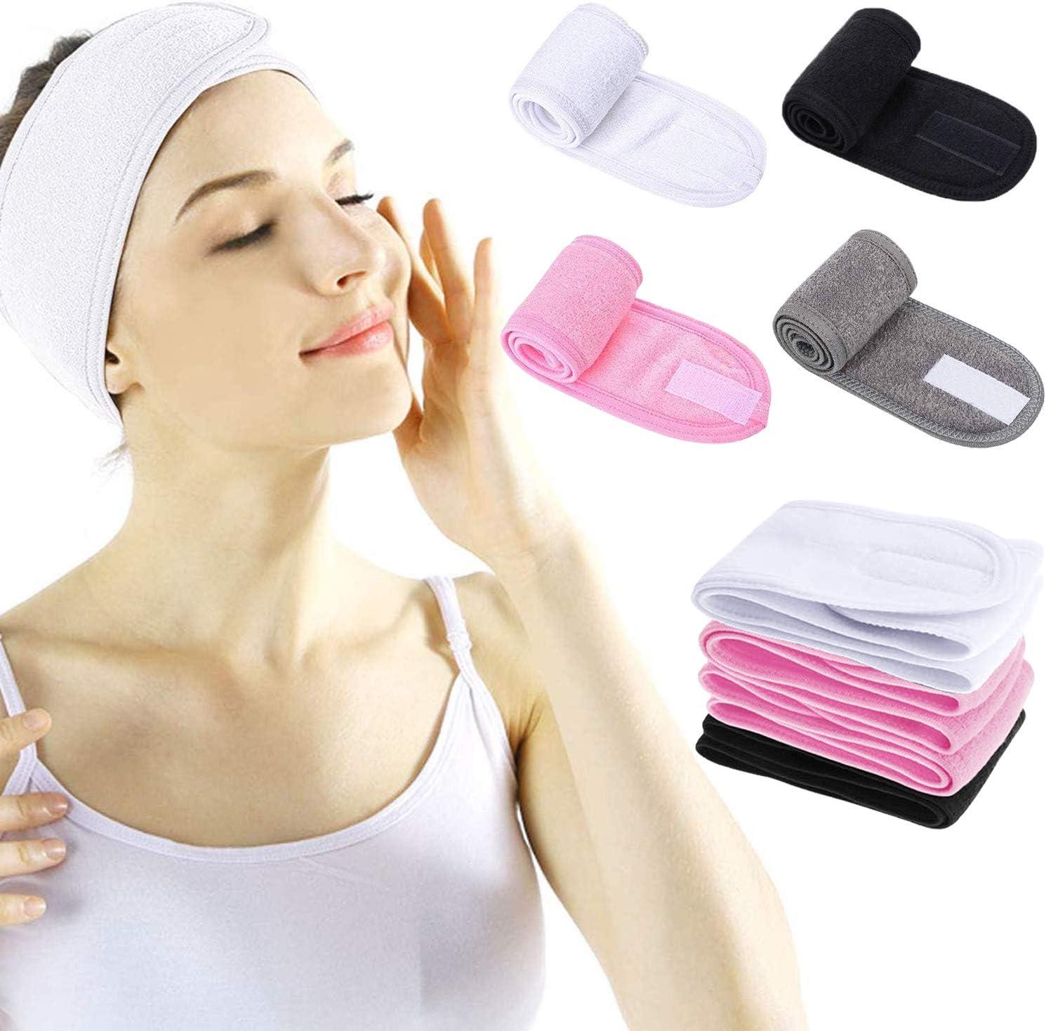 Diadema Maquillaje 3 Piezas Diadema Facial de SPA Ajustable para Ba/ñarse Lavado Facial Yoga Deportes Ducha con Cinta M/ágica