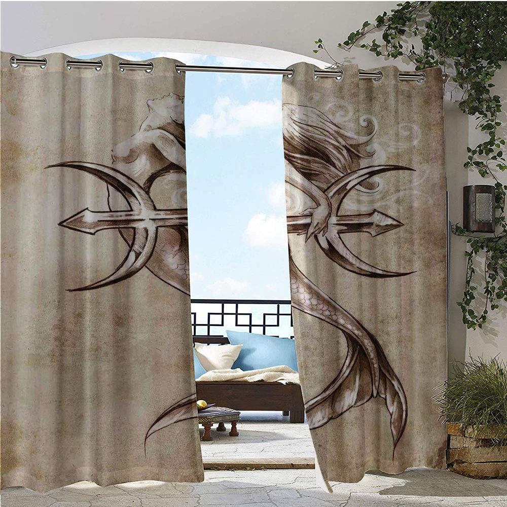 Cortina de privacidad para exteriores para pergola, retrato de sirena gótica con maquillaje mitología cuento de hadas impresión artística, aislado térmico repelente al agua cortina para balcón verde azulado rosa crema: Amazon.es:
