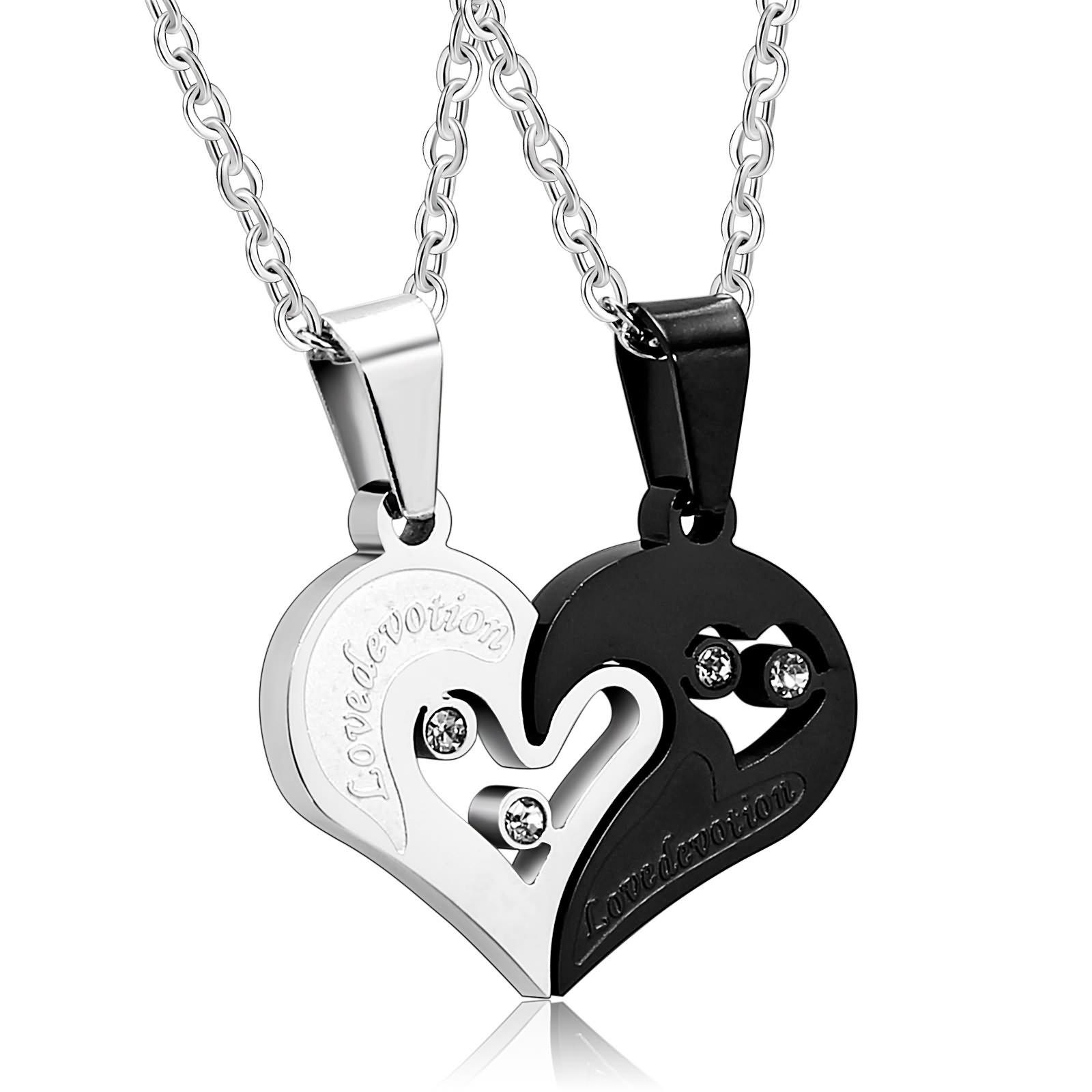 Beydodo Couple Necklace Love Heart Puzzle I Love You Black Silver CZ Mens Necklace Pendant