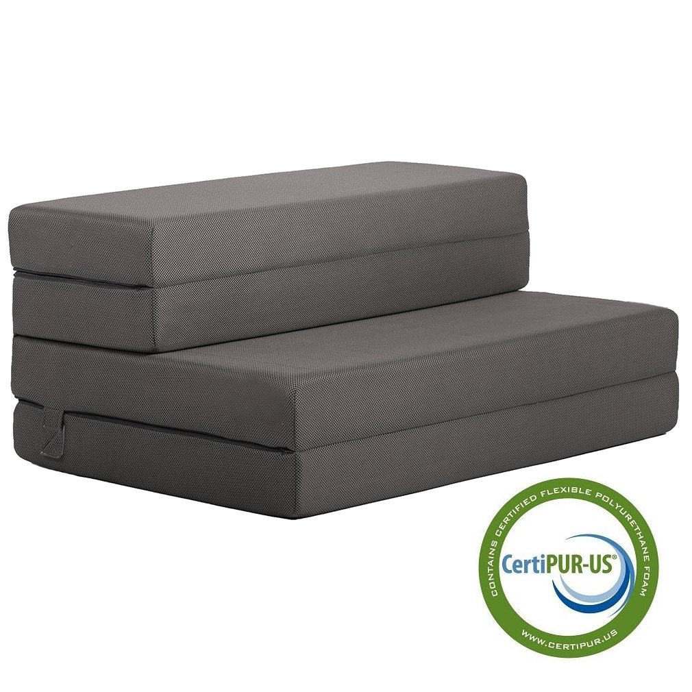 Folding Mattress Guest Bed Camping Cot Tri-Fold 4'' Foam Sofa Floor Mat with Removable Washable Cover Twin Size 38x75 Inch