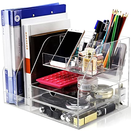 Desk Organizer, Clear Acrylic Desk Organizer For Office Desk Supplies  Accessories Storage, Large Office