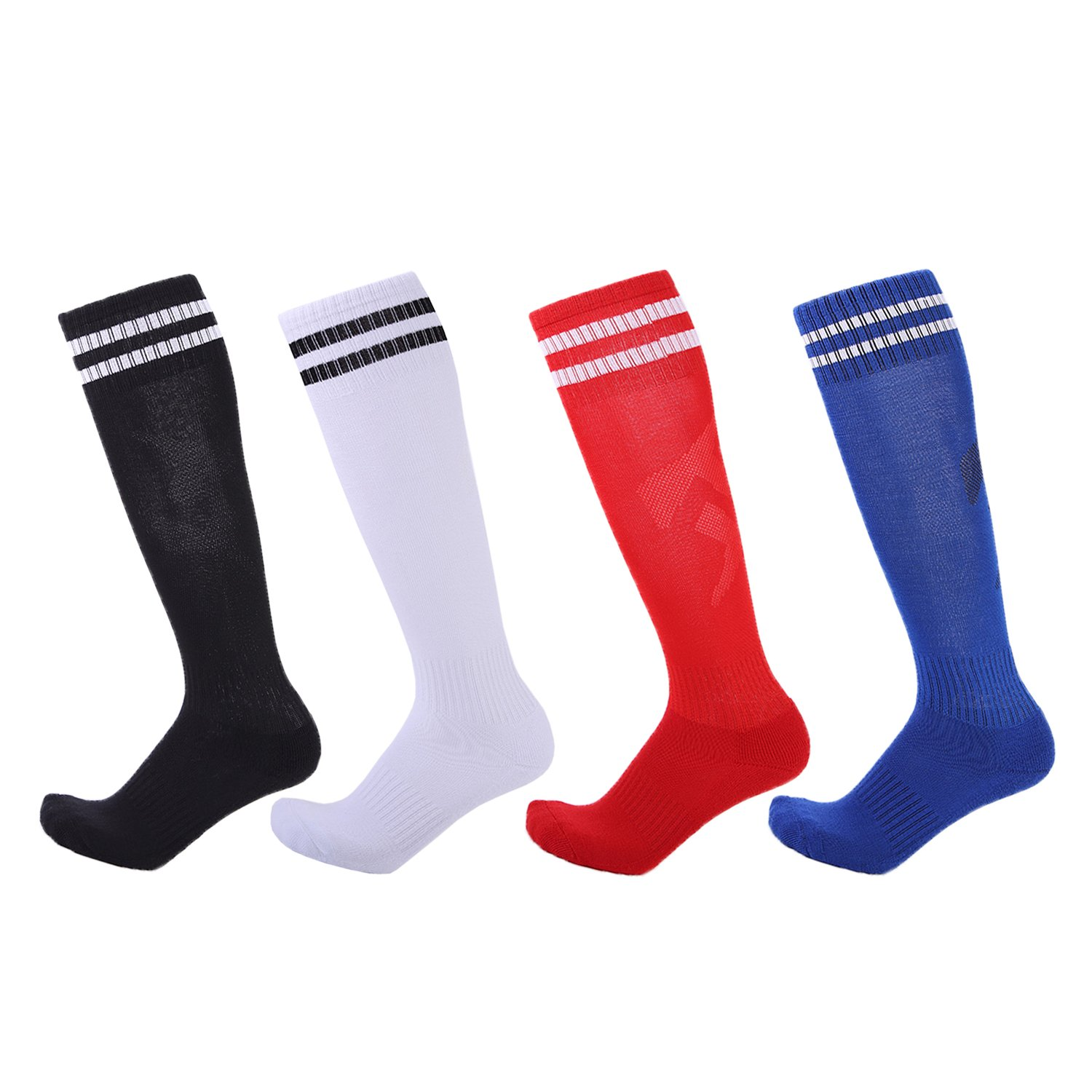 4 Pairs Boys Girls Soccer Socks Towel Cushioning Compression Sport Socks Cotton Team Socks for Children & Kids & Teenagers Black/White/Red/Sapphire by EBlife