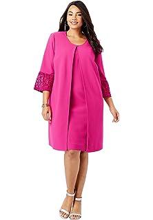 Jessica London Womens Plus Size Bell Sleeve Ponte Jacket Dress Suit