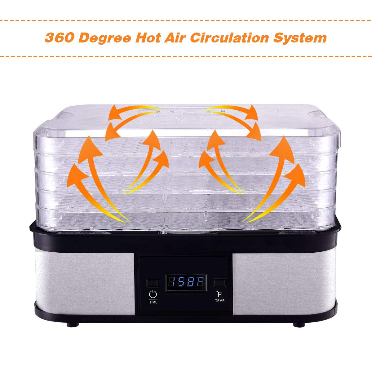 HAPPYGRILL Food Dehydrator Machine, Best Electric 5-Tier Home Food Meat Beef Jerky Fruit Vegetable Dehydrator Dryer Preserver, Professional 360 Degree Hot Air Circulation System, Easy to Clean(Black) by HAPPYGRILL (Image #7)