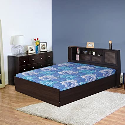 HomeTown Bolton Queen Bed in Engineered Wood with Box Storage and Head Storage & HomeTown Bolton Queen Bed in Engineered Wood with Box Storage and ...