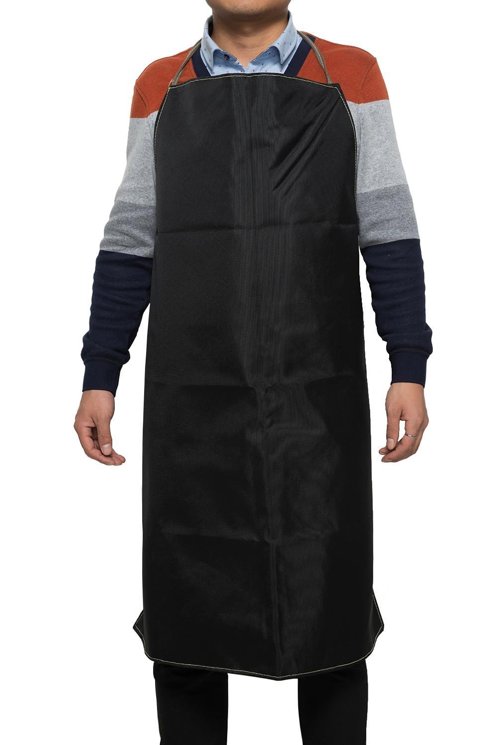 Mufly Long Welding Apron Bib Style Welding Protective Apron Safety Workshop Apron Black (Nomex and KEVLAR)