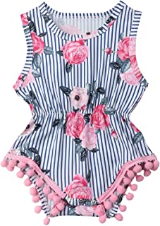 Newborn Infant Baby Girl Clothes Sleeveless Romper Round Neck Elastic Waist Bodysuit Stripe Rose Printing Jumpsuit Outfits 0-18 Months