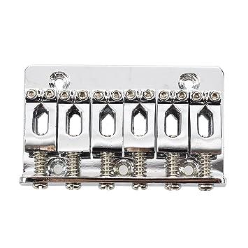 SODIAL(R) Puente de cuerdas de guitarra electrica suspension delantera de silla con tornillos llave Plata