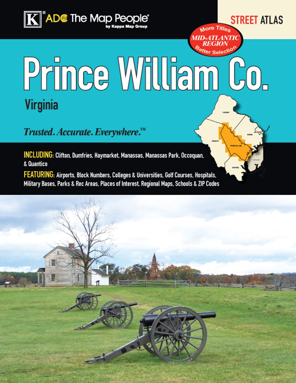 Prince William County Zip Code Map.Prince William County Va Street Atlas Kappa Map Group