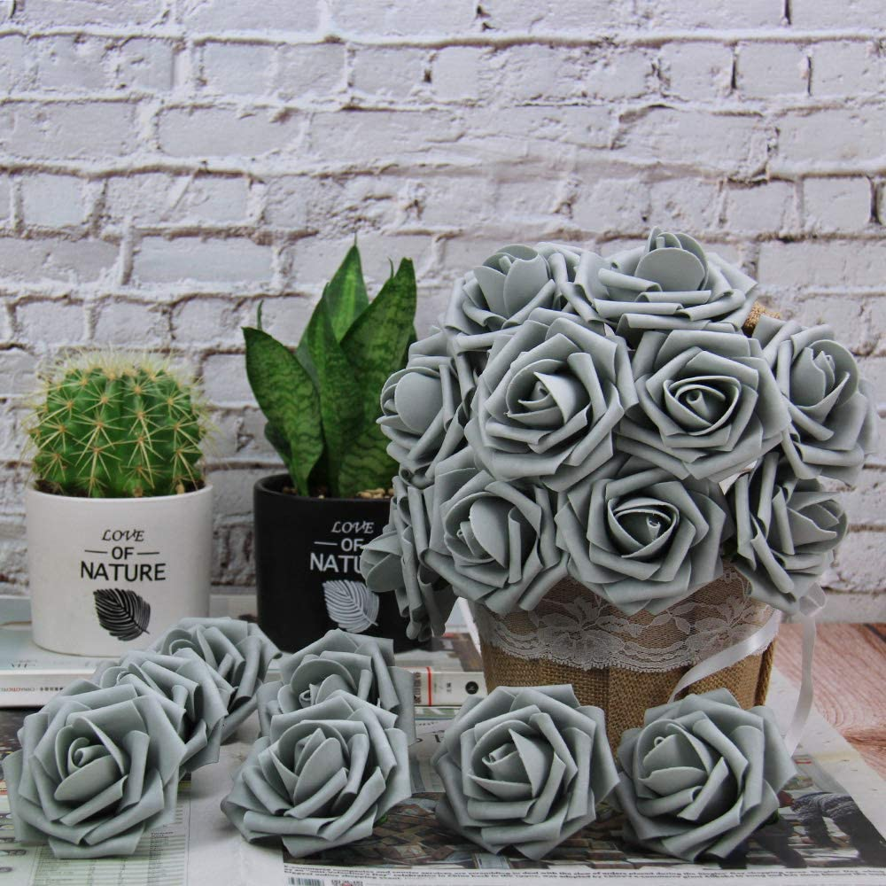 Marry Acting Artificial Flower Rose 30pcs Real Touch Artificial Roses for DIY Bouquets Wedding Party Baby Shower Home Decor Army Green