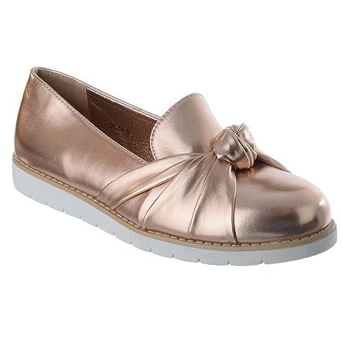 Mujer Tacón Bajo Plano Nudo Moño Oficina Trabajo Casual Plataforma Mocasines Zapatos número - Oro Rosa Metálico, 36: Amazon.es: Zapatos y complementos