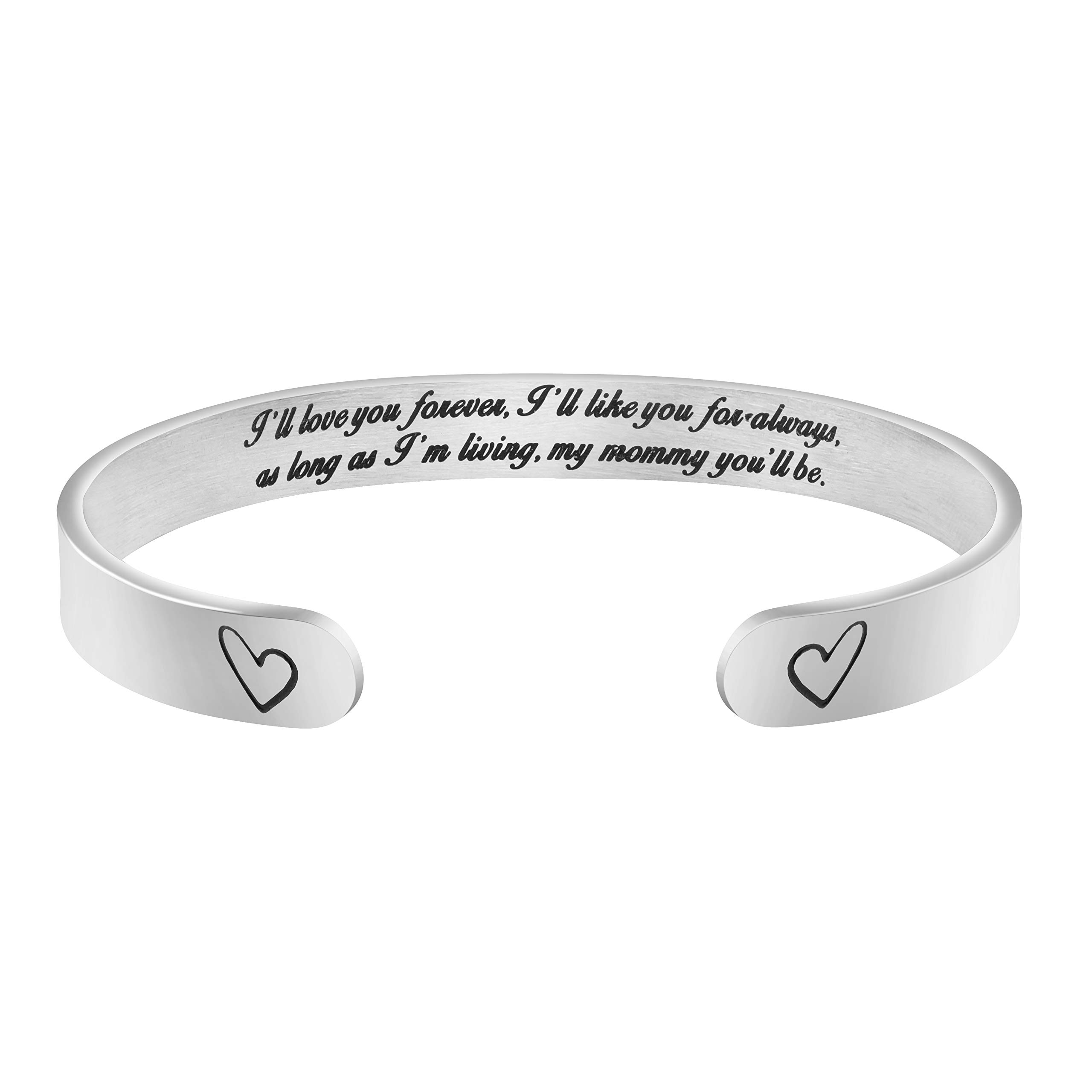 Mother's Day Cuff Bracelet Engravable Stainless Steel Gifts Jewelry for Mom Mother