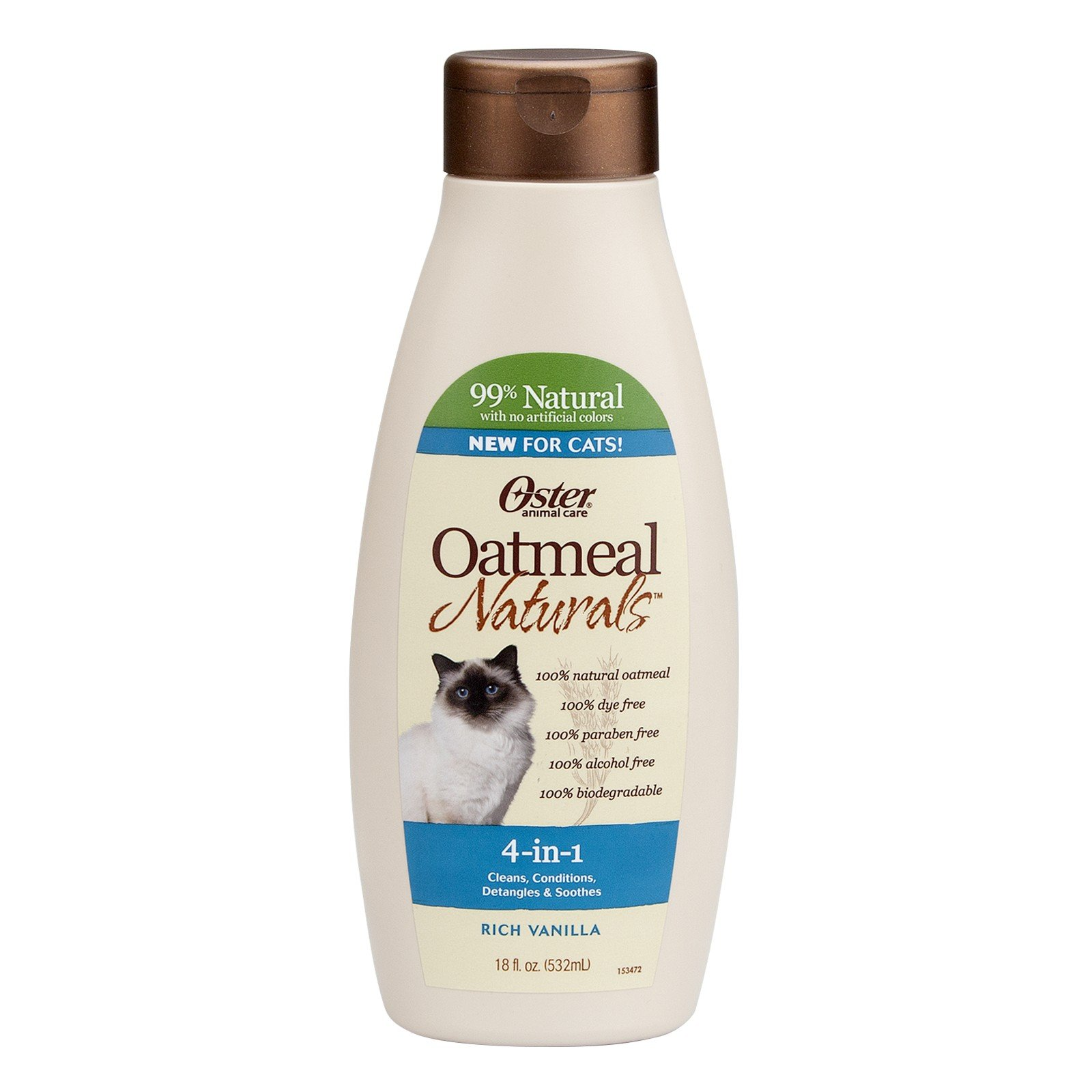 Oster Oatmeal Naturals 4-in-1 Cat Shampoo, Rich Vanilla, 18 Fluid Ounces (078590-765-001)