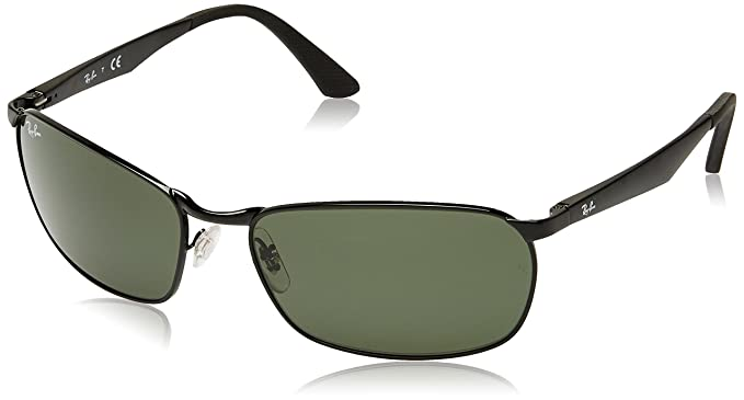 a5e5af58efb Ray-Ban METAL MAN SUNGLASS - BLACK Frame GREEN Lenses 62mm Non-Polarized