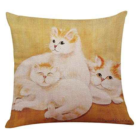 XuanhaFU 1 Pack Lindo Gato Patrón de Lino Throw Pillow Case ...