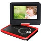 "COOAU 9.8"" Portable DVD Player with 7.5"" Swivel Screen, 5 Hours Built-in Rechargeable Battery, Supports SD Card/USB/Sync TV with Remote Control and Game Controller, Direct Play in Formats AVI/RMVB/JPEG/MP3, Red"