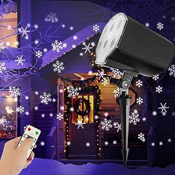 Weihnachtsbeleuchtung Aussen Schneefall.Led Projektionslampe Weihnachten Weihnachtsbeleuchtung Außen Schneeflocken Schneefall Effektlicht Mit Fernbedienung Timer Led Projektor Lampe