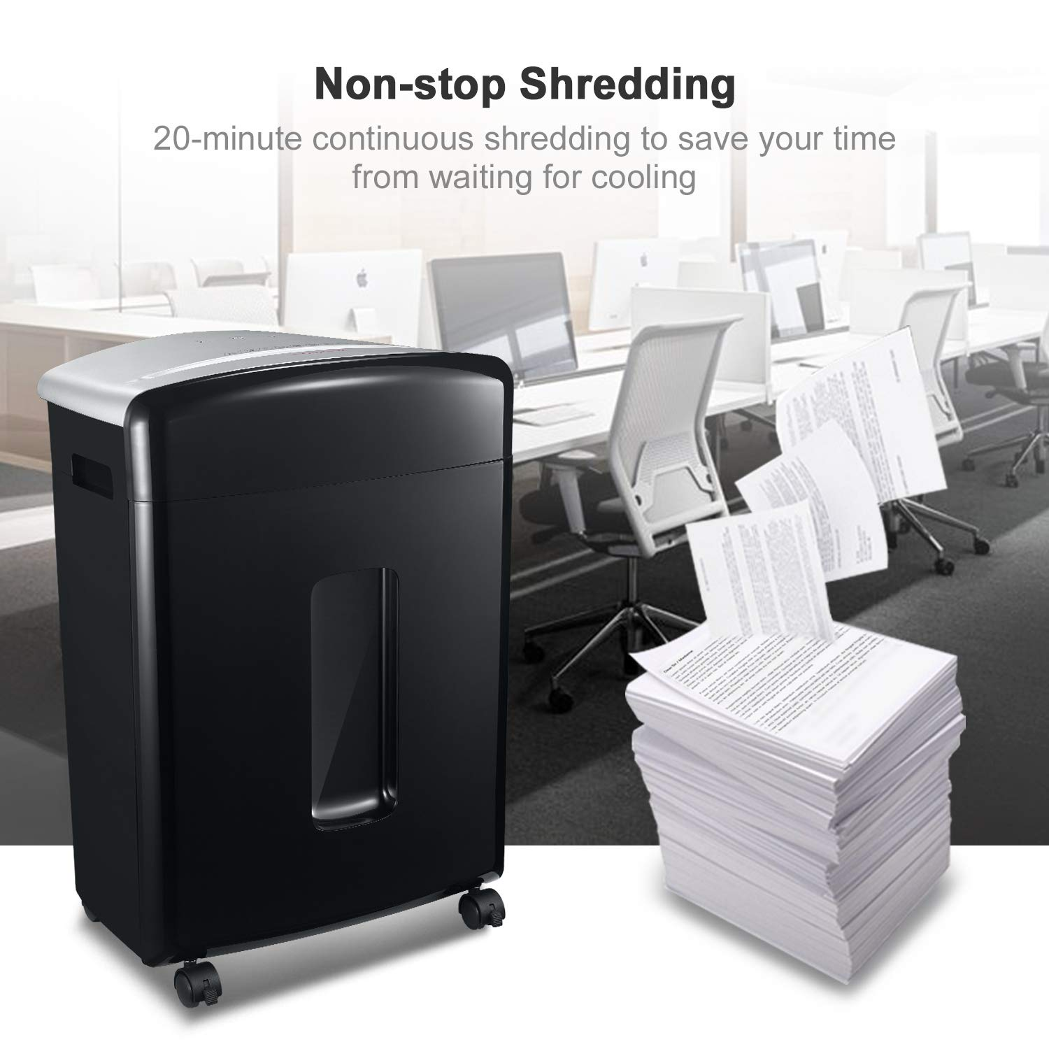 Bonsaii 16-Sheet Micro-Cut Paper/CD/Credit Card Shredder, 20 Minutes Running Time, 60 dB Low Operation Noise, 6.6 Gallons Basket and 4 Casters (C222-B) by bonsaii (Image #4)
